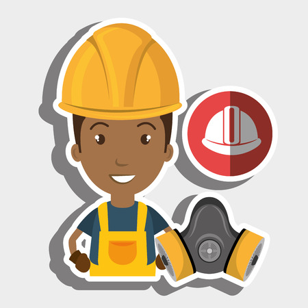 dangerous construction: worker helmet mask gas vector illustration design