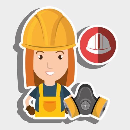 dangerous woman: worker helmet mask gas vector illustration design