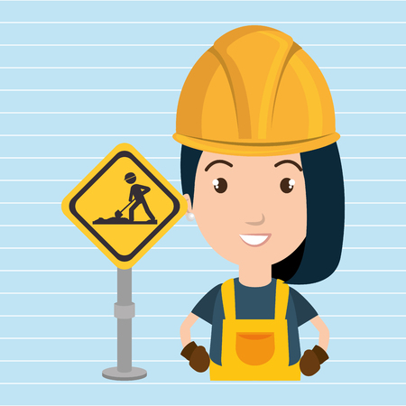 civil engineers: woman worker construction vector illustration design eps 10 Illustration