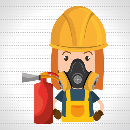 firefighting: woman mask extinguisher icon vector illustration eps 10 Illustration