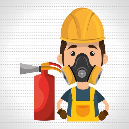 man mask extinguisher icon vector illustration eps 10 Illustration