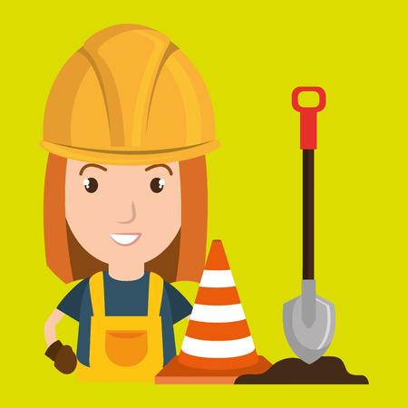 traffic pole: woman shovel warning construction vector illustration design