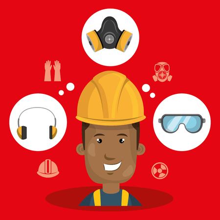 man worker equipment protection vector illustration design Illustration