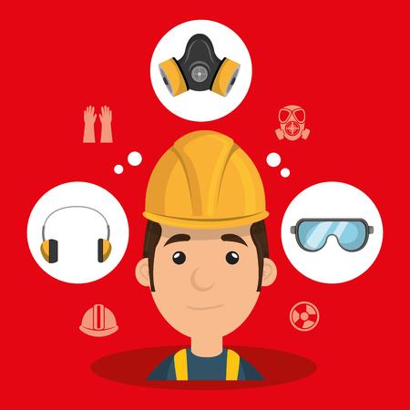 man worker equipment protection vector illustration design Illustration