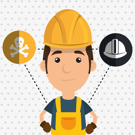built: man worker helmet gloves vector illustration design Illustration