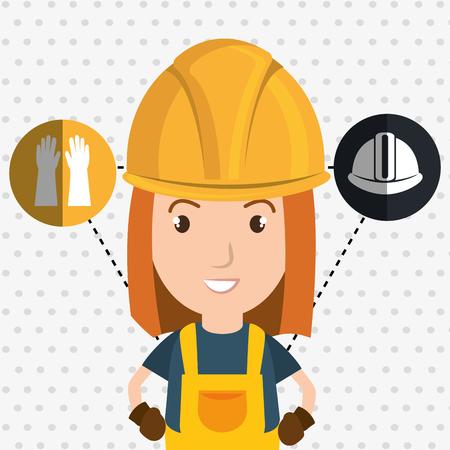 woman worker helmet gloves vector illustration design