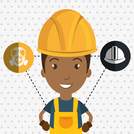 man worker helmet gloves vector illustration design Illustration