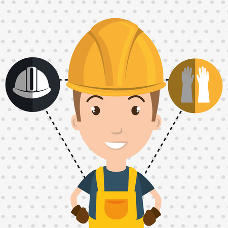 man worker helmet gloves vector illustration design Illustration