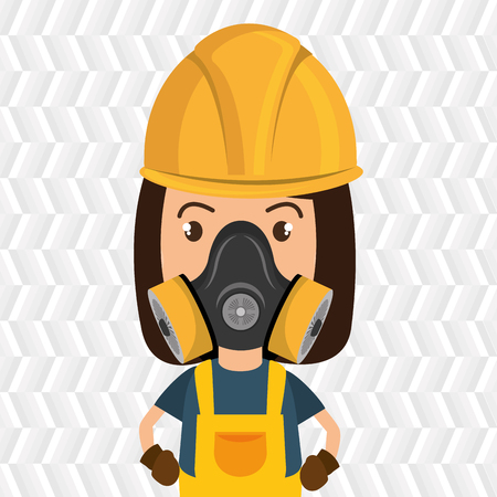 hair mask: woman worker mask gas vector illustration design Illustration