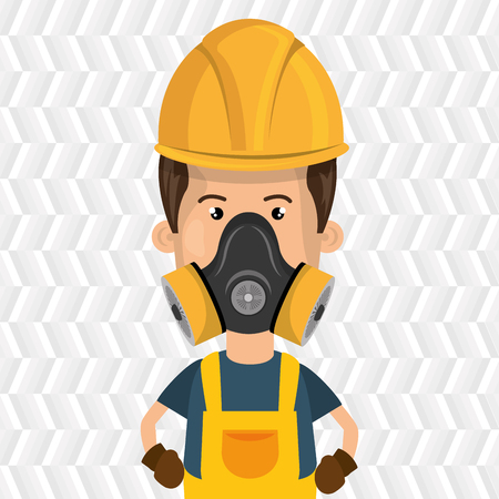 atmosphere: man worker mask gas vector illustration design Illustration