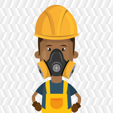 gas man: man worker mask gas vector illustration design Illustration
