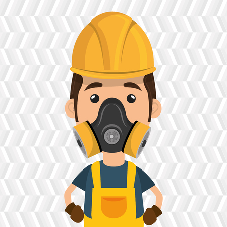 radioactive warning symbol: man worker mask gas vector illustration design Illustration