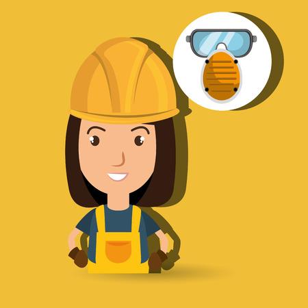 environmental contamination: woman worker mask smog vector illustration design eps 10
