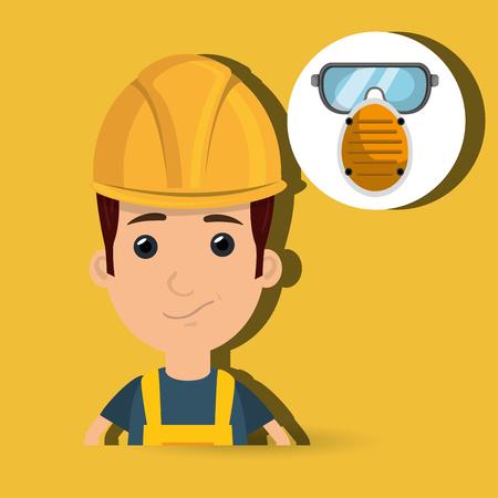 smog: man worker mask smog vector illustration design eps 10