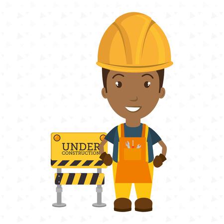 under construction worker website vector illustration design