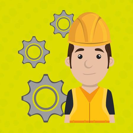 man worker gears team vector illustration design eps 10