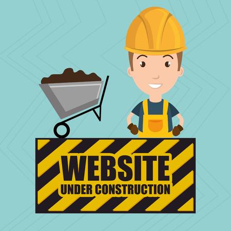 website under construction: man website under construction avatar vector illustration design Illustration