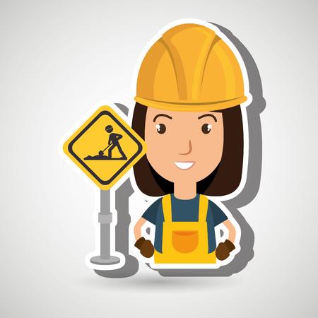 civil construction: woman worker construction vector illustration design eps 10 Illustration