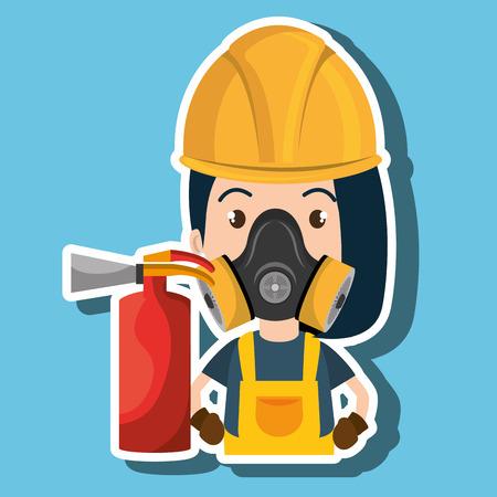 woman mask extinguisher icon vector illustration eps 10 Illustration