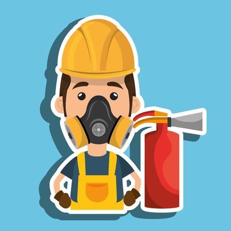 eps vector icon: man mask extinguisher icon vector illustration eps 10 Illustration