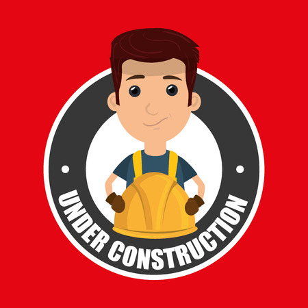 under construction worker website vector illustration design
