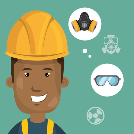 protective gas mask: man worker equipment protection vector illustration design Illustration