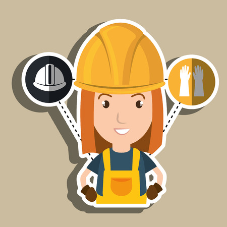 woman worker helmet gloves vector illustration design