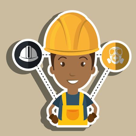 man worker helmet gloves vector illustration design