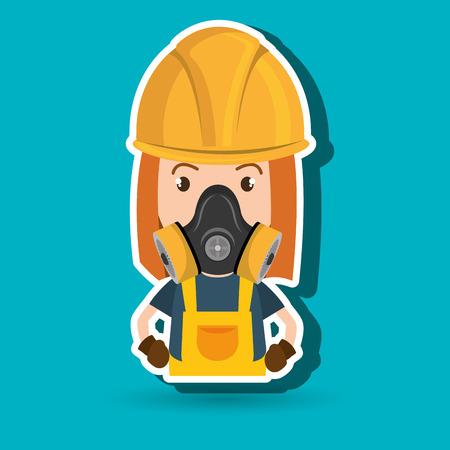 radioactive warning symbol: woman worker mask gas vector illustration design Illustration