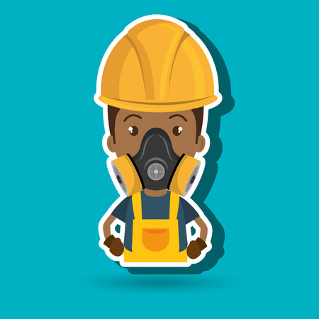 man worker mask gas vector illustration design Illustration