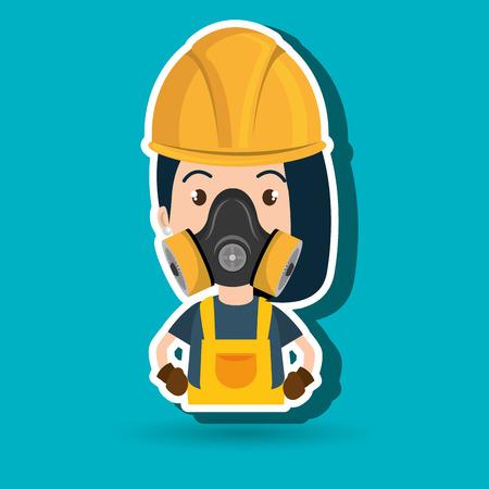 woman worker mask gas vector illustration design Illustration