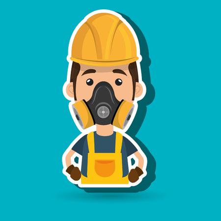 man worker mask gas vector illustration design Illustration