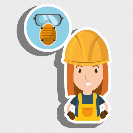 woman worker mask smog vector illustration design eps 10
