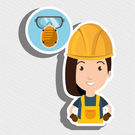 smog: woman worker mask smog vector illustration design eps 10