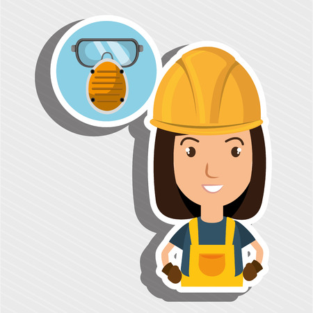 stifle: woman worker mask smog vector illustration design eps 10
