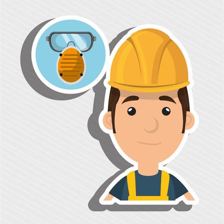 industrial worker: man worker mask smog vector illustration design eps 10