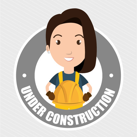 hypertext: under construction worker website vector illustration design