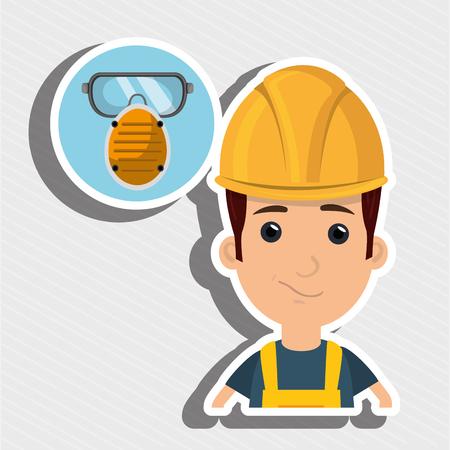 environmental contamination: man worker mask smog vector illustration design eps 10