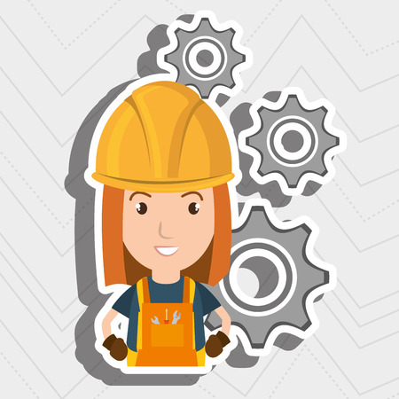 woman worker gears vector illustration design eps 10 Illustration