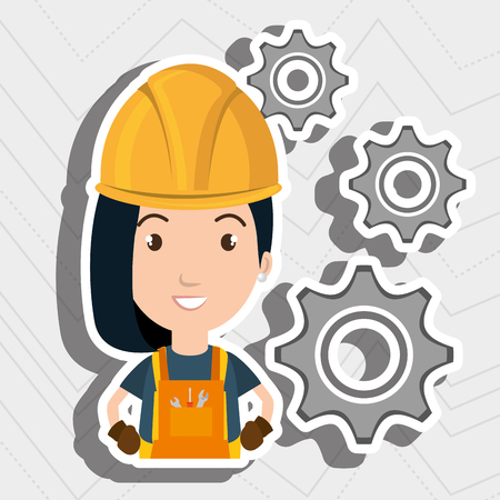 tied girl: woman worker gears vector illustration design eps 10 Illustration