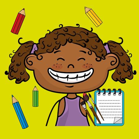 girl cartoon child notebook vector illustration design Illustration