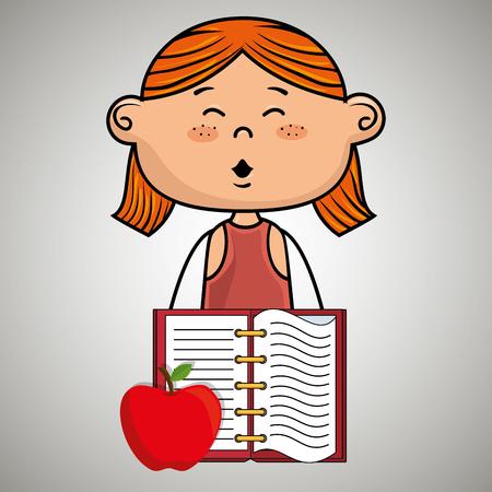 cartoon girl notebook icon vector illustration design eps 10