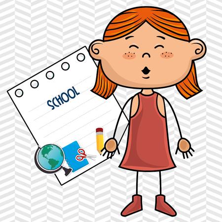 cartoon school girl: girl cartoon school student icon vector illustration design