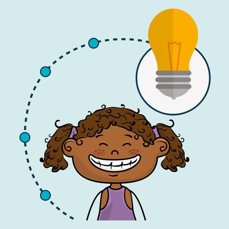 girl cartoon idea icon vector illustration design