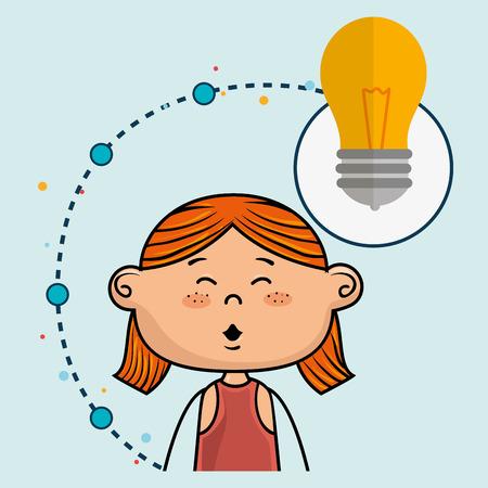 girl short hair: girl cartoon idea icon vector illustration design
