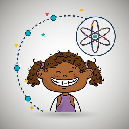 cartoon atom: girl cartoon atom icon vector illustration design