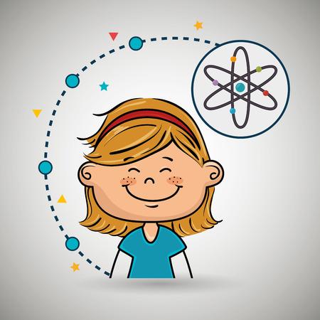 girl cartoon atom icon vector illustration design Векторная Иллюстрация