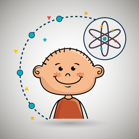 boy cartoon atom icon vector illustration design