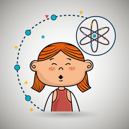 dessin animé fille conception atome icône vecteur illustration