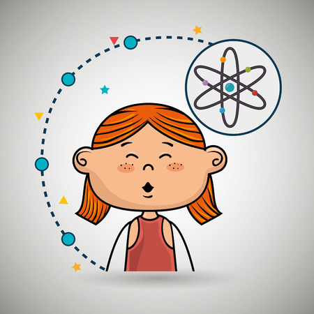 girl cartoon atom icon vector illustration design
